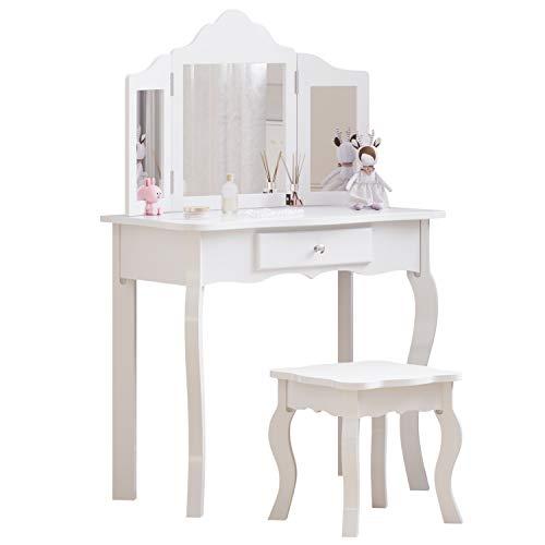 Tocador para niños, juego de tocador para niñas con 3 espejos plegables, 1 cajón y taburete, escritorio de maquillaje para niños (blanco)