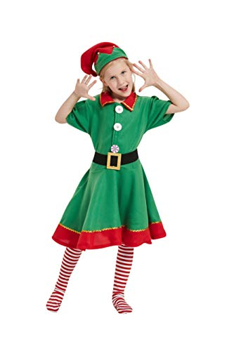 STARCIET Child Holiday Christmas Elf Costume Dress with Hat Sock Elf Costume for Girls (X-Large-(8-10 Years)) Green