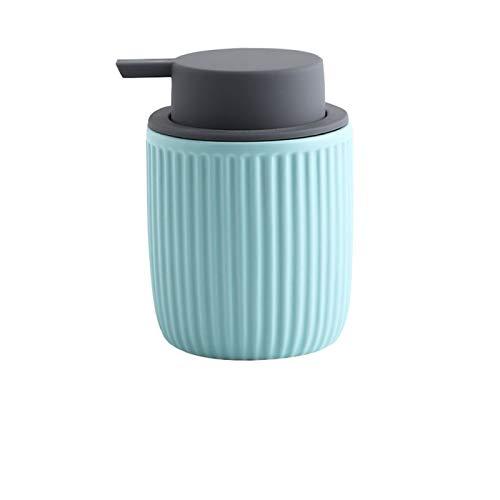 Nostalgie Manual Dispensador de Jabón Embotellado de Cerámica Tipo de Prensa Ducha Gel Champú Jabón Dispensador Botella para Baño Aseo Decoración 320ml Botella de líquido (Color : Blue)