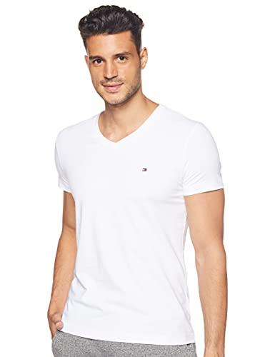Tommy Hilfiger Core Stretch Slim Vneck tee Camiseta, Blanco (Bright White 100), Large para Hombre