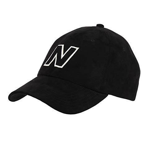 New Balance Men's and Women's Block N 6-Panel Curved Brim Hat, Black, One Size