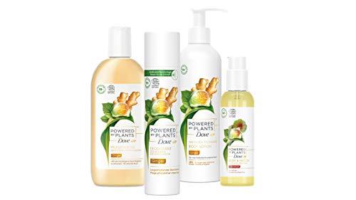 Dove Powered by Plants Pflegeset mit 4 Produkten (Ginger Duschgel, Deo Spray, Body Lotion & Geranium Body- & Haaröl), vegane Naturkosmetik