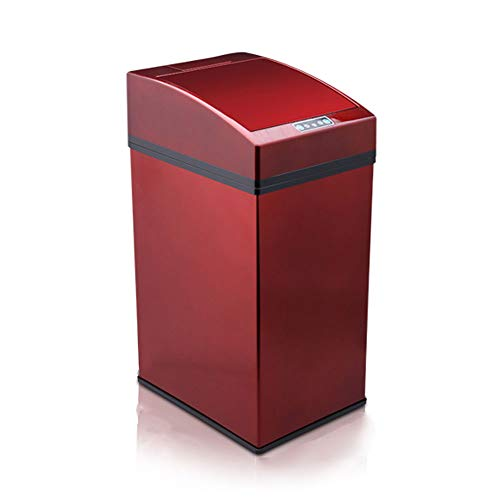 JMM Electric Stainless Steel Induction Trash can Home Smart Living Room Bathroom European Luxury Automatic Change Bag (Color : Red)