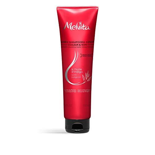 Melvita - Après Shampoing Indigo - Soin Expert Couleur - Protège, Nourrit, Apaise, Démêle les cheveux - Sans sulfate, sans silicone - Certifié Bio, vegan - Tube 150ml