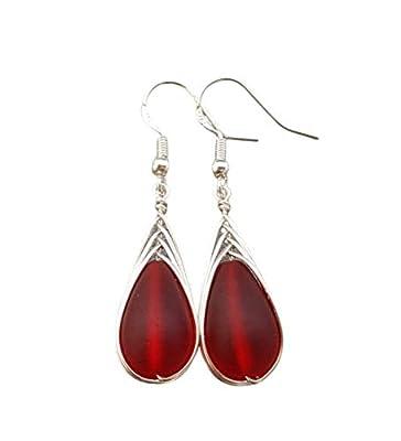 bijoux faits à la main d'Hawaï, fil tressé rouge rubis boucles d'oreilles en verre de la mer, « Janvier Birthstone », (Hawaï cadeau emballé, personnalisable message cadeau)