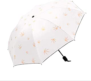 Sun Umbrella Folding Umbrella Rain and Shine Dual-Use Umbrella Black Plastic Sunscreen Anti-Ultraviolet,White
