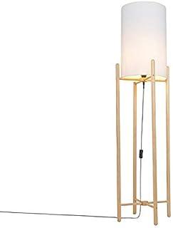 Qazqa Lampadaire   Lampe sur pied Rustique - Lengi Lampe Beige Blanc - E27 - Convient pour LED - 1 x 25 Watt