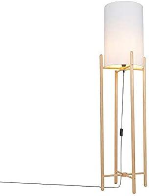 Qazqa Lampadaire | Lampe sur pied Rustique - Lengi Lampe Beige Blanc - E27 - Convient pour LED - 1 x 25 Watt