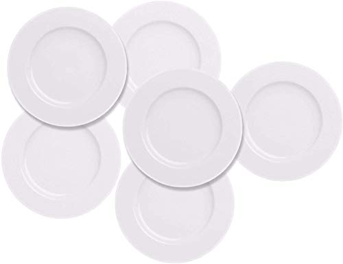 Salad Dessert Plate 7.5inch White Porcelain Dinner Set of 6 with Round Flat Design Good for the Gift