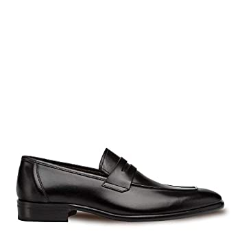 Mezlan Newport - Mens Luxury Penny Loafer Featuring Hand Finishes - Smooth European Calfskin Loafer - Handcrafted in Spain - Medium Width  Black 10