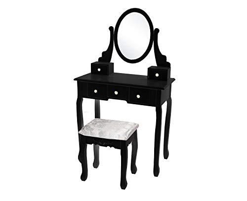 Kaptafel Mara zwart inclusief zitbankje en spiegel