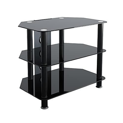 King Mesas de TV de Cristal, de Cristal Negro Gabinete Mueble Plataforme de TV, Cable Gestión, LCD,...