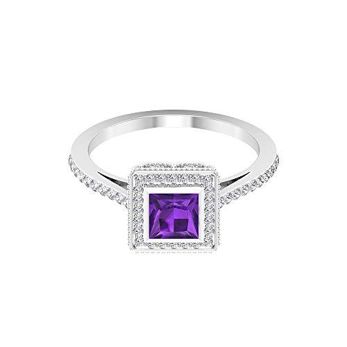 Anello nuziale da 0,46 carati con ametista taglio principessa, 0,34 carati, con diamante certificato SGL, solitario con perline incise, anello da donna, 18K Giallo oro, Size:EU 44