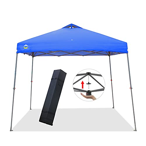 CROWN SHADES Canopy Tent 11x11 Pop-up Canopy Easy Up Beach Canopy Outdoor Shade Bonus Wheeled Bag,Stake and Ropes,Blue