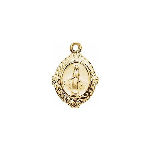 Colgante de oro amarillo de 14 quilates de 12 x 9 mm con medalla milagrosa ovalada, colgante de joyería para mujeres