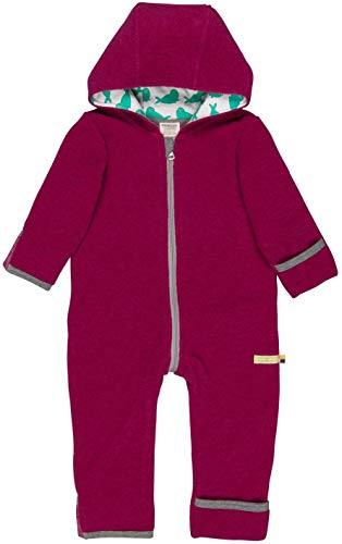 loud + proud Baby Overall aus warmen Bio Woll-Fleece und Bio Baumwolle. Vorne mit Reißverschluss, GOTS Zertifiziert, Berry, 74-80