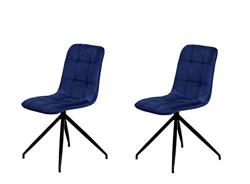 Preisvergleich Produktbild Der spanische Stuhl,  Holz,  Stoff,  Indigoblau,  Maße: 46 cm (Breite) x 57 cm (Tiefe) x 88 cm (Höhe)