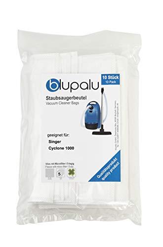 blupalu I Staubsaugerbeutel für Staubsauger Singer Cyclone 1000 I 10 Stück I mit Feinstaubfilter