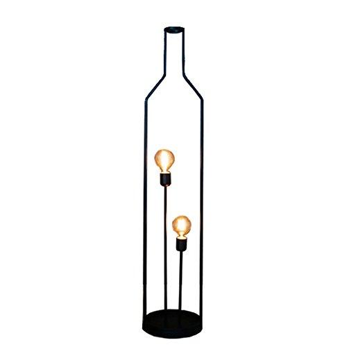 Minimalistische Stehleuchte der Flasche LED, Retro- schwarze Metallkunstwohnzimmer-Stehlampe, Schlafzimmernachttisch-Stehlampe
