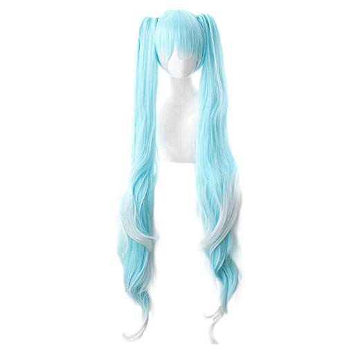 Muzi Perücke Miku's Day Vocaloid Hatsune Miku Cosplay Perücke mit Perückenkappe, 120 cm, Blau/Weiß