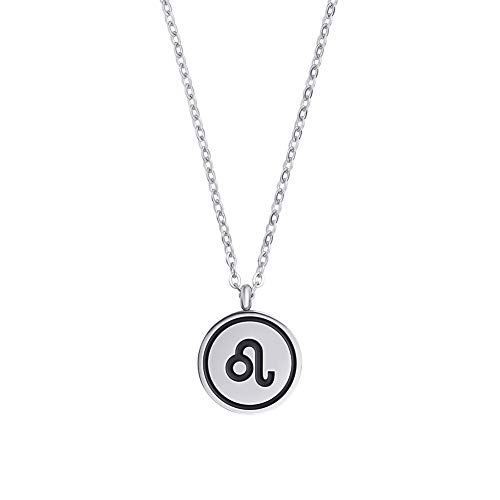 Zodiac Necklace Star Birth Sign Necklace Gifts Horoscope Necklace Silver Tone 16' - 18' Chain Astrology Jewelry Pendant For Women Girls Constellation Celestial Necklace Zodiac Gifts S Silver