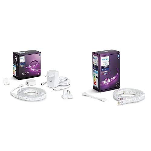Philips Hue Lightstrip Tira Inteligente LED 2m, con Bluetooth + Lightstrip Tira Inteligente LED 1m, con Bluetooth