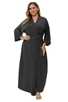Women s Plus Size Long Robes Kimonos Plus Size Maternity Robes Delivery Robes Sleepwear,Grey 3X