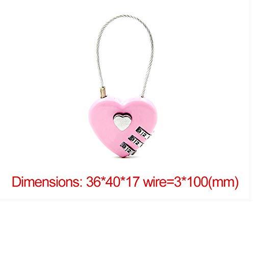 Lock Pad Lock Exquisite Draad Touw Combinatie Digitale Hangslot Reistas Hart Wachtwoordslot voor Rits Tas Rugzak Handtas Ladekast roze