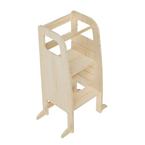 AtviKids Torre Montessori Con 5 Altezze Regolabili | Ayudante Cocina | Taburete Cocina | Torre Actividades | Taburete Escalada (Transparent)