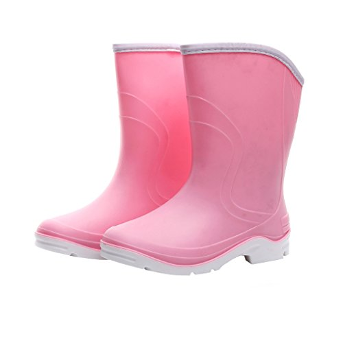 Women Half Calf Ankle Rubber Rainboots 2 Color Waterproof Boots for Garden Rain Round Toe Rainboots Size 6.5