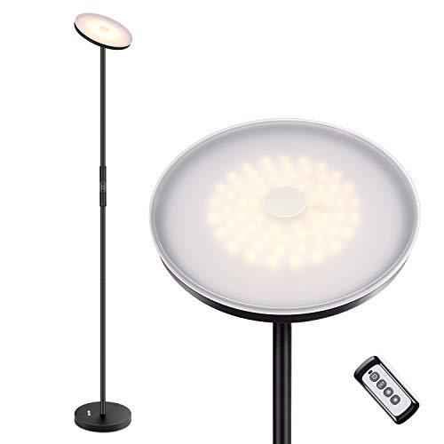 Albrillo LED Deckenfluter Stehlampe - Stufenlos Dimmbar Stehleuchte mit 3 Farbtemperaturen, Touch & Remote Control Standlampe, Modern Standleuchte für Wohnzimmer, Schlafzimmer und Büro, Super Hell 20W