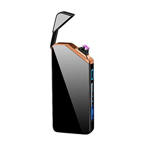 Lichtbogen Feuerzeug, Elektronisches Feuerzeug, USB Wiederaufladbare Dual Elektronisches Lichtbogen Winddicht Plasma Feuerzeug, Flammenloses Taschenfeuerzeug (Black Ice)