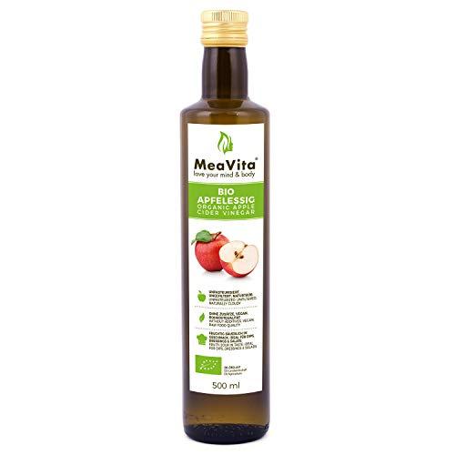 Vinaigre de cidre de pomme biologique MeaVita, naturellement trouble et non filtré à la noix de vinaigre, 1 paquet (1 x 500 ml)