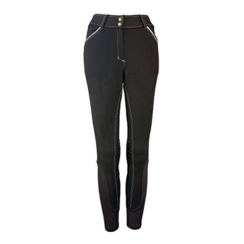 One Stop Equine Shop Women's Micah Breeches, Silicone Gel Knee Patch, Horse Riding Jeans, Black 24