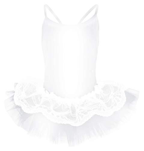 tanzmuster ® Ballettkleid Mädchen Tutu - Antonia - (Größe 92-170) aus glänzendem Lycra Ballett Trikot mit Tuturock weiß, Größe 116/122
