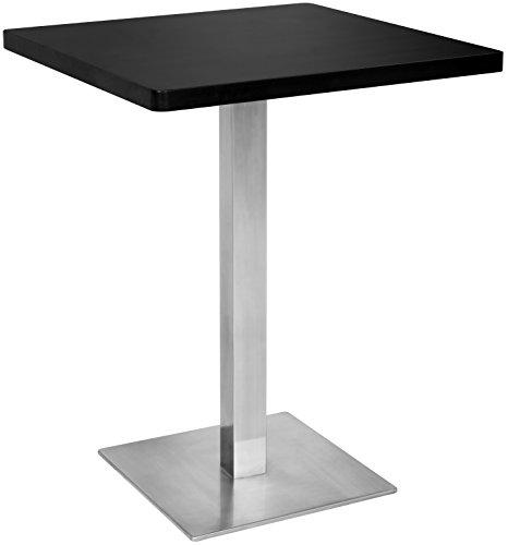 SixBros. Bartisch Bistrotisch Tisch Schwarz Eckig Edelstahlfuß 60x60x75 - M-BT60/1854