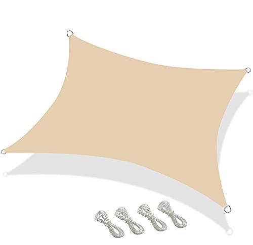 BBVS 3 * 5m Pabellón Rectangular Impreso, Vela Parasol, pabellón de Paisaje Plegable, 98% de Bloque UV con Cuerda Libre (Beige)