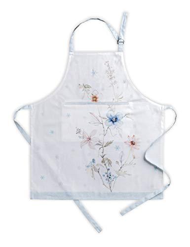 Maison d'Hermine Ice Florals - Grembiule da cucina in 100% cotone, con collo regolabile, tasca...