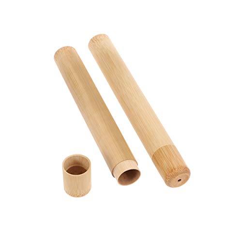 Healifty Tubo redondo de bambú de la caja del cepillo de dientes del tenedor del cepillo de dientes portátil para el viaje 2pcs