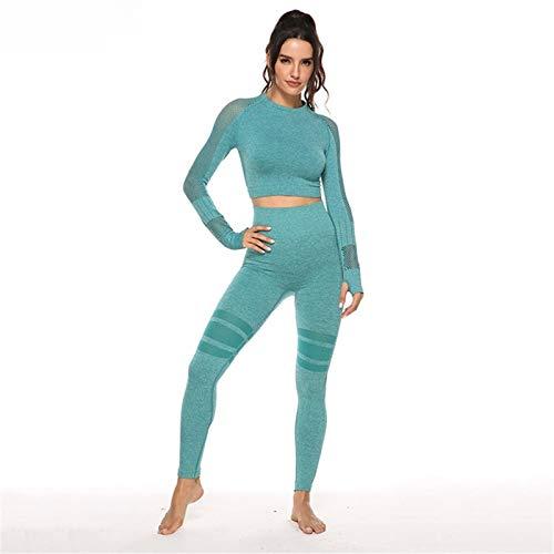 Damas Yoga tracksuits deporte camisa de manga larga pantalones de chándal pantalones de yoga Conjunto polainas medias pantalones elásticos de la forma for correr sesión de gimnasio de fitness entrenam