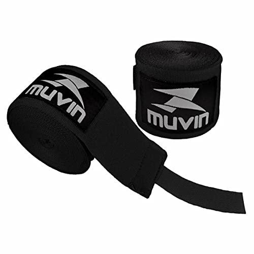 Bandagem Elástica Muvin 5 Metros Com Velcro e Alça Para Polegar - Atadura de Proteção Para Mãos e Punhos - Faixa de Boxe - Muay Thai - MMA - Artes Marciais - Treino - Unissex - Várias Cores