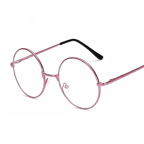 Eyeglasses Marco Mujeres Transparente Gafas Redondas Claro Marco Espectáculo Myopia Gafas Hombres Marco Nerd Marcos Rojo (Frame Color : Pink)