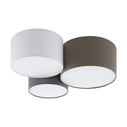 EGLO Deckenlampe Pastore, 3 flammige Textil Deckenleuchte, Material: Stahl, Stoff, Farbe: weiß, anthrazit braun, grau, Fassung: E27