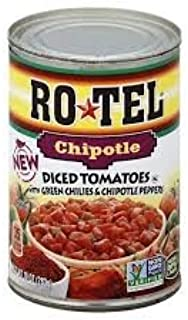 Ro-tel Chipotle Diced Tomatoes with Green Chilies and Chipotle Peppers 10oz can ( Pack of 2 )