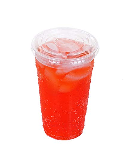 TashiBox 24 oz disposable clear PET plastic cups with flat lids, sets of 68 (68)