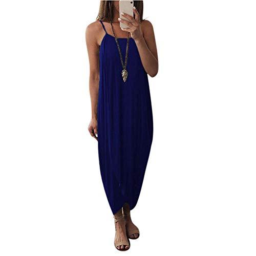 DDbrand vrouwen luchtige Maxi jurk effen kleur breien mouwloos los voor zomer strand partij