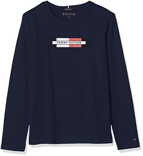 Tommy Hilfiger Essential Hilfiger Logo Tee L/s Maglia a Maniche Lunghe, (Blue Cbk), 92 (Taglia Produttore: 24M) Bambino