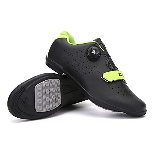 LZQpearl Zapatillas De Ciclismo, Zapatillas De Bicicleta De Montaña Y Carretera con Suela De Goma, Zapatillas De Bicicleta Sin Bloqueo con Sistema De Cordones De Rotación Rápida (Black,45)