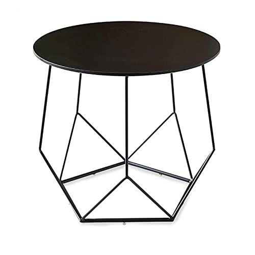 N\C Table Coffee Side Table, Loft Industrial Wind, Balcony Table, Sofa Side Table, 2colors for Living Room Bedroom (Color : Black, Size : 27.55 27.55 24.40in)