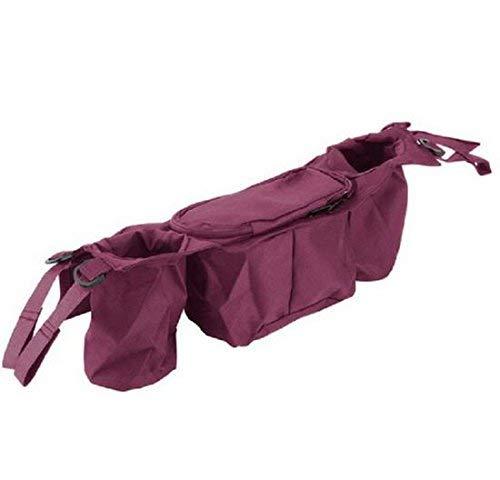 BOLAWOO-77 Bolsa Universal De Organizador Carrito Bebé De Cochecito De Mode De Marca Bebé Cochecito De Niño Tazones De Fuente Titular Bolsa De Accesorios Para Caminar (Color : Rote, Size : One Size)